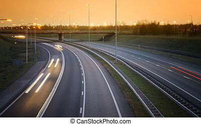 highway in the evening