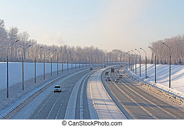 Highway in the snow cold winter