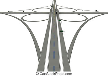 A Highway interchange. 3D rendered Illustration. Isolated on white.