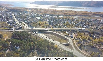 Highway interchange aerial - Aerial view small highway...