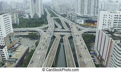 Highway interchange aerial - Highway road intersection in...