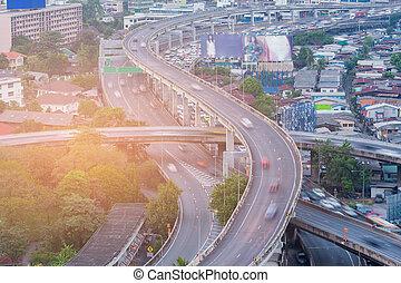 Highway interchange aerial view