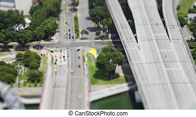 Highway Interchange in Singapore, from an Elevated...