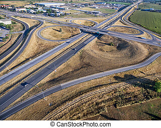 highway intersection aerial view - aerial view of ...