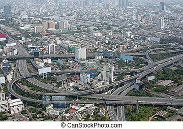 Aerial view of freeway interchange. Taken from Bayoke Sky Tower, Bangkok, Thailand