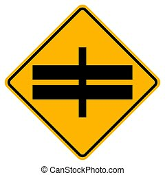Highway Intersection Ahead Traffic Road Symbol Sign Isolate on White Background, Vector Illustration EPS.10