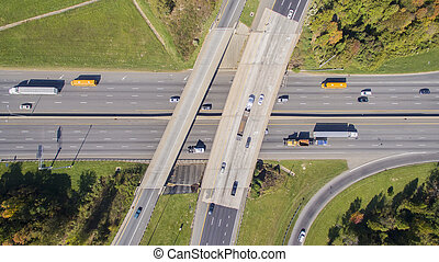 Highway Intersection In The USA - A major highway...