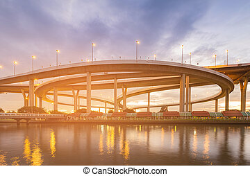 Highway intersection river front night view
