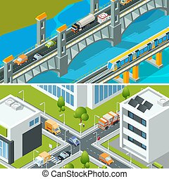 Highway intersection traffic. Urban landscape isometric with various vehicle cars buses busy city vector 3d illustration