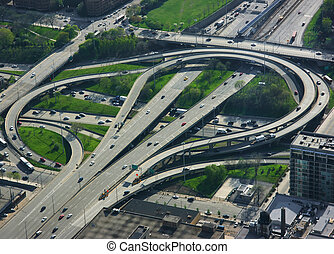Highway junction - Aerial view of an elevated highway...