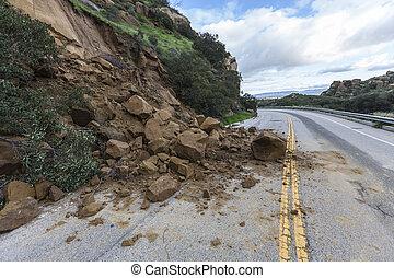 Highway Landslide Los Angeles California - Landslide rocks...