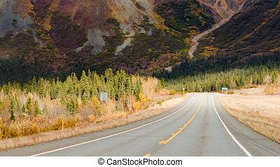 Highway Leads Through Peaks Alaska Range Fall Autumn Season...