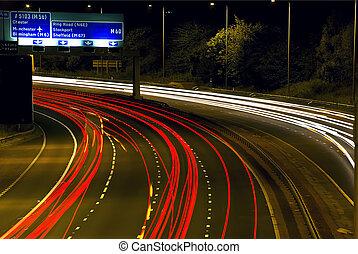 Highway Light Trails at Night