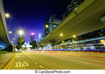 highway light trails in city