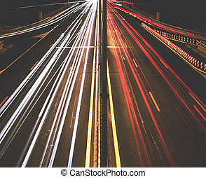 Highway light trails