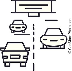 Highway line icon concept. Highway vector linear illustration, symbol, sign