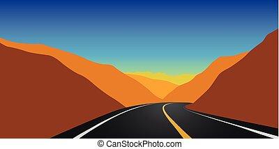 highway mountain road autumn landscape
