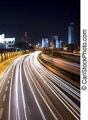 Highway - night city highway