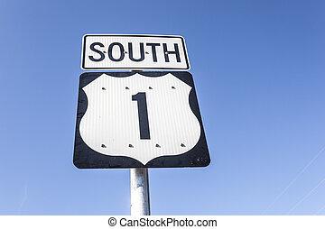 Highway number one sign, Florida