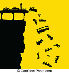 Highway Off the Cliff - Cartoon silhouette of vehicles...