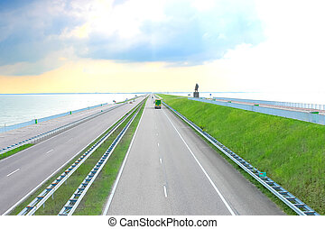 Highway on a great dam in Netherlands
