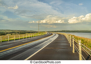 highway over a dam on Missouri River