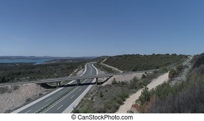 Aerial view of the traffic at the highway A1 overpass near Sibenik in Croatia Europe.