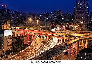 highway overpass at night