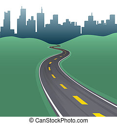 Highway path curve city buildings skyline - Highway path...