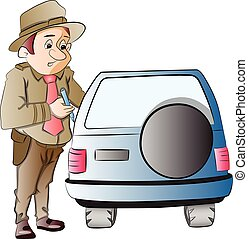 Highway Patrol Writing a Ticket to a Motorist, vector illustration