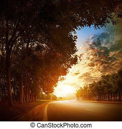 Highway - At dusk highway in the village.