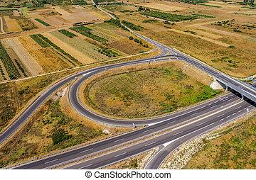 Highway - Aerial shot of highway near Zadar, Croatia.