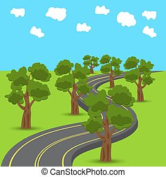 Highway receding into the distance in the animated style. Green oak trees on the edges of the road. illustration