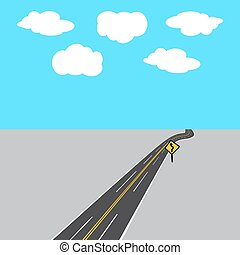 Highway receding into the distance with white and yellow markings, road sign. illustration