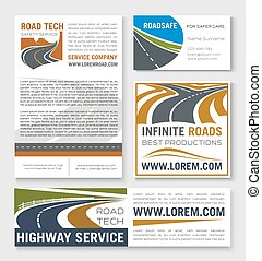 Highway road construction banner template