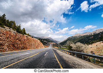 Highway road in the high mountain