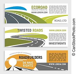 Roads and highways vector banners with motorway lane and expressway drive. Set for transportation route repair service, eco road construction and building or investment company