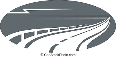 Highway, road or pathway gray icon - Highway, road or ...