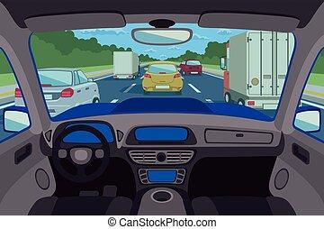 Highway, road viewed inside automobile. Vector illustration