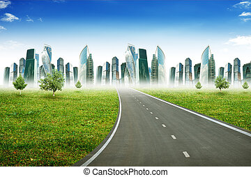 Highway road with city