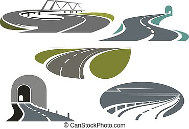 Highway, roads, tunnels and bridge icons - Mountain tunnels,...
