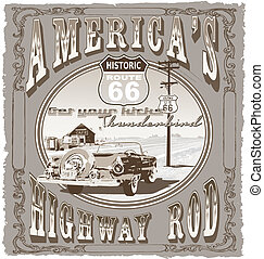 highway route 66 - illustration for shirt printed and poster