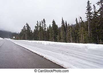 Highway running through forests of Washington covered with snow,  USA
