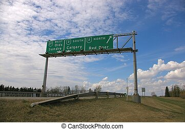 Highway Sign - A highway sign in rural Alberta