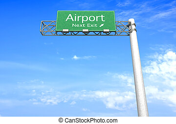 Highway Sign - Airport - 3D rendered Illustration. Highway...