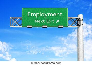 Highway Sign - Employment - 3D rendered Illustration. ...