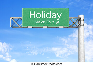 Highway Sign - Holiday - 3D rendered Illustration. Highway...