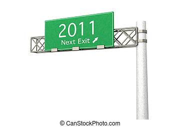 Highway Sign - Next Exit 2011 - 3D rendered Illustration....