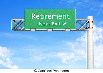 3D rendered Illustration. Highway Sign next exit to Retirement.