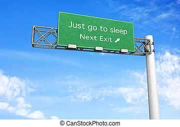Highway Sign - Sleep - 3D rendered Illustration. Highway...